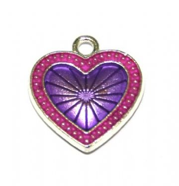 1pce x 22mm*20mm Purple enameled alloy star burst heart charms / pendants